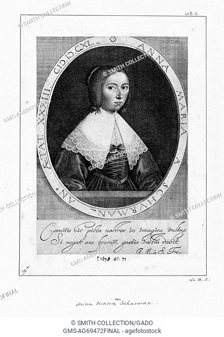 Engraved self portrait of Anna Maria van Schurman, German-born Dutch painter, engraver, poet, and scholar, who is best known for her exceptional learning and...