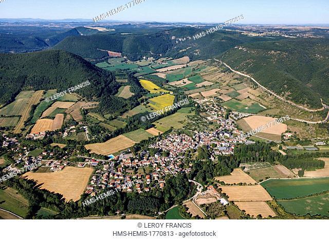 France, Aveyron, Parc Naturel Regional des Grands Causses (Natural Regional Park of Grands Causses), La Dourbie river valley, Nant (aerial view)
