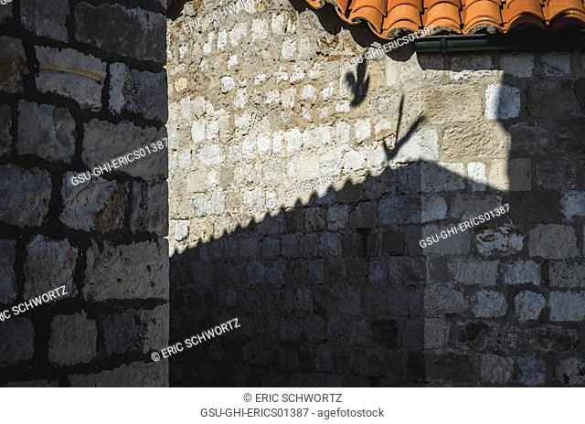 Shadow of a Bird on Old Stone Building, Dubrovnik, Croatia