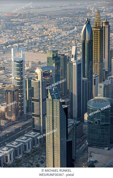 UAE, Dubai, Highrise building in Down Town Dubai