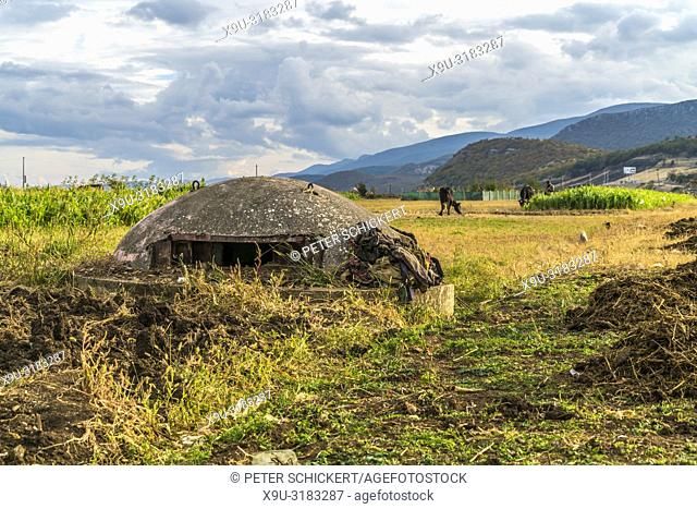 abandoned concrete bunker near Lin village, Albania, Europe