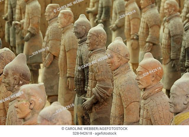 Rows of Terra Cotta Warriors in Xi'an China