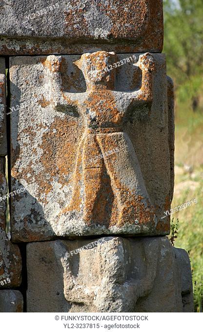 Close up of Hittite relief scultures of Hittite godsEflatun P?nar ( Eflatunp?nar) Ancient Hittite relief sculpture monument and sacred pool