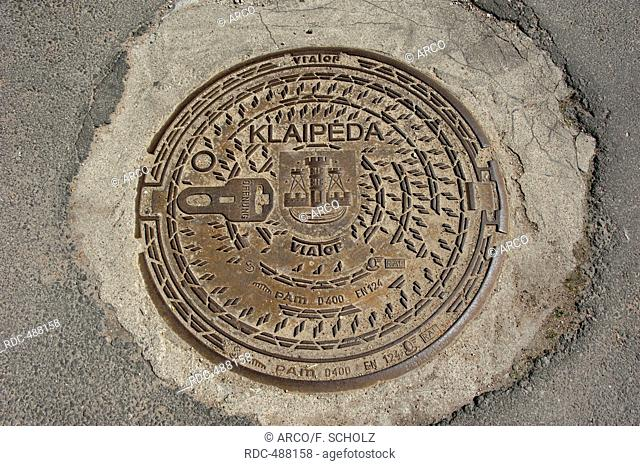 Gully cover, Klaipeda, Lithuania, Baltic states, Europe / Manhole cover