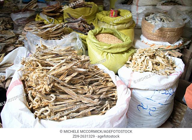 Dried fish and other staples for sale at the market in Bagan