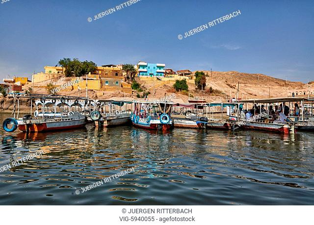 EGYPT, ASWAN, 10.11.2016, boats are waiting for tourists to Philae, Egypt, Africa - Aswan, Egypt, 10/11/2016