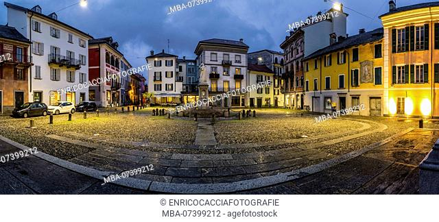 Panorama of Piazza Sant Antonio in Locarno at the blue hour