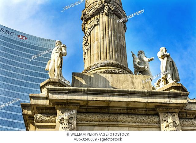Statues Independence Angel Monument Mexico City Mexico. Built in 1910 celebrating Independence war in early 1800s. Remains of heroes in monument
