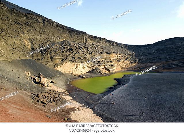 El Charco de los Clicos o Charco Verde, El Golfo, Lanzarote Island, Las Palmas, Canary Islands, Spain