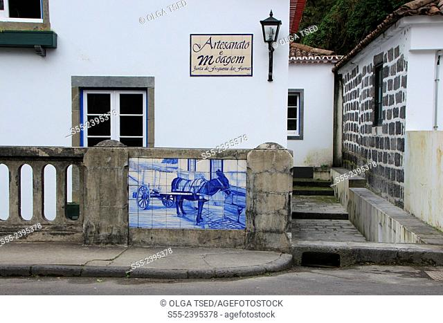 Artesanato e moagem, building detail. Furnas, Sao Miguel Island, Azores, Portugal