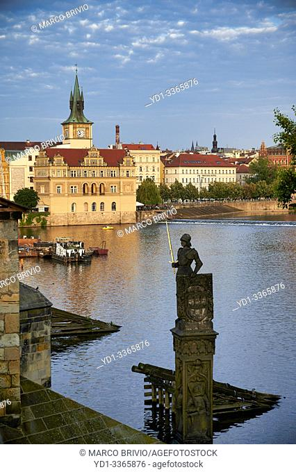 Prague Czech Republic. Old historical buildings by the river Vltava (Moldava)