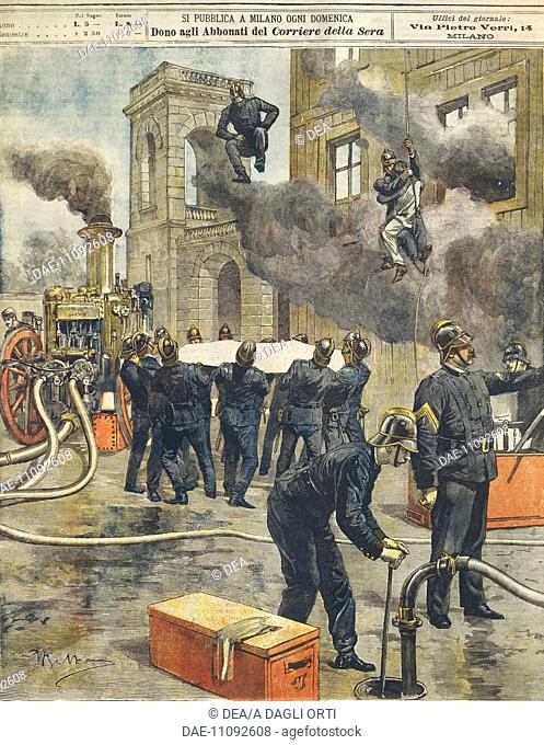 Italian Firemen's congress and demonstration at the Arena in Milan. Illustrator Achille Beltrame (1871-1945), from La Domenica del Corriere, 24th September 1899