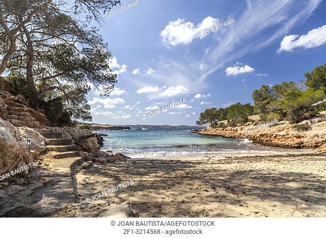 Mediterranean beach, Cala Gracioneta, town of Sant Antoni, Ibiza island,Spain