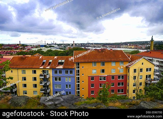 Gothenburg, Sweden Rooftops over a residential neighborhood