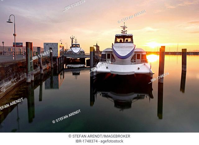 Konstanz harbour with catamarans in the early morning, Lake Constance, Baden-Wuerttemberg, Germany, Europe