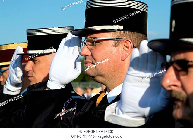 STANDING AT ATTENTION DURING THE FLAG CEREMONY IN HOMAGE TO THOSE KILLED IN FIRES, 123RD NATIONAL CONGRESS OF FRENCH FIREFIGHTERS, TOURS, SEPTEMBER 2016