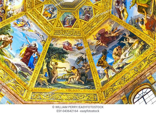 Adam Eve Cain Abel Paintings Dome San Lorenzo Medici Church Florence Tuscany Italy. Family Church Medici Family