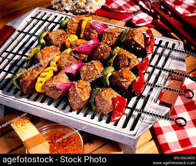 Beef and Vegetable Kabobs on the Grill