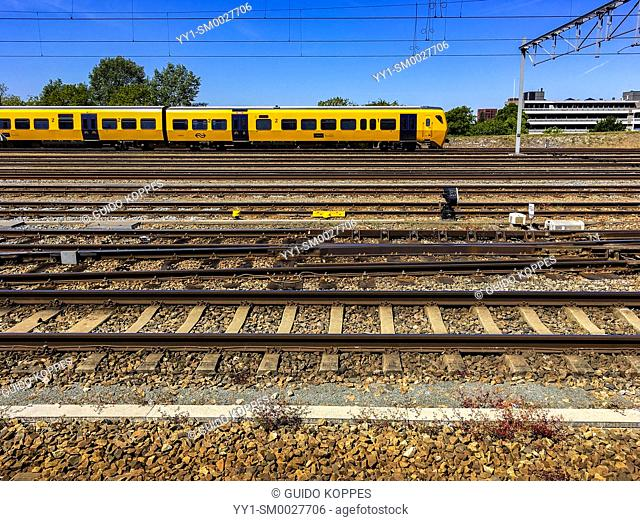Roosendaal, Netherlands. Train Yard with parked train at central station
