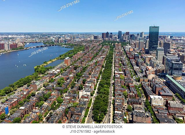 Aerial view of Back Bay, looking east along Commonwealth Avenue, Boston, Massachusetts, USA