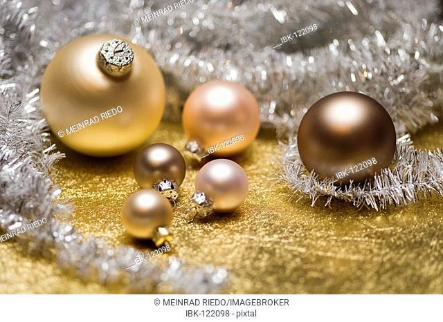 Christmas tree decoration on golden underground
