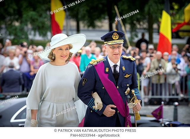 Queen Mathilde of Belgium and King Philippe of Belgium attend the Te Deum mass at the Cathedral of St. Michael and St. Gudula in Brussels, Belgium, 21 July 2015