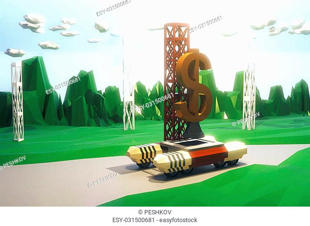 Rocket Launcher with a dollar sign, polygonal style concept