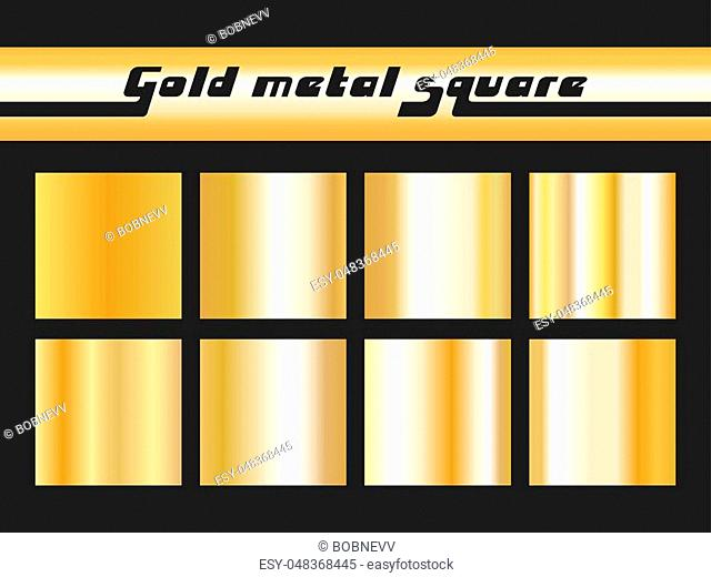 Set of gold gradient square. Golden metallic texture pattern. Vector illustration