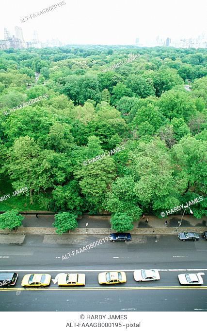 New York, Manhattan, taxis parked next to Central Park, high angle view