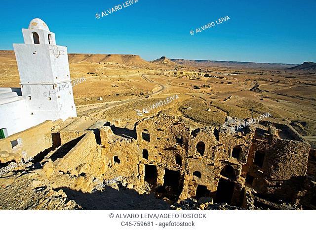 Douiret ruined Berber village, Tataounie district, Tunisia's ksar trail, South Tunisia, Tunisia