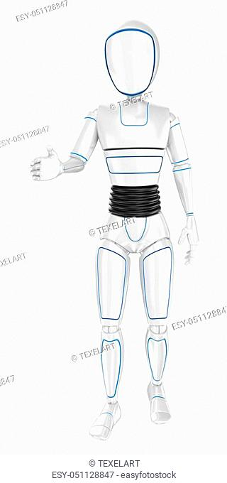 3d futuristic android illustration. Humanoid robot welcoming offering the hand. Isolated white background