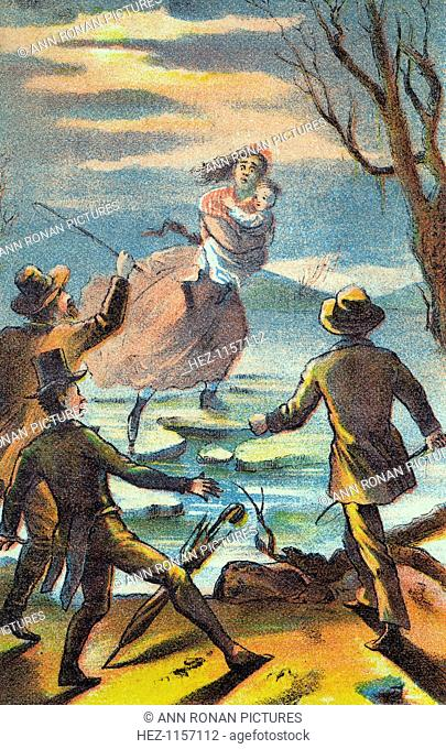 Illustration from a poster advertising a theatrical production of Uncle Tom's Cabin, 1870. Eliza carries her son across the Ohio river