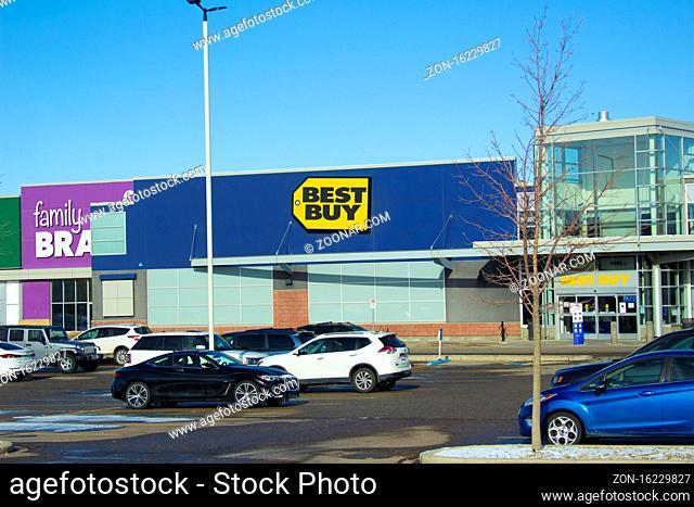 Calgary Alberta, Canada. Oct 17, 2020. Best Buy is an American multinational consumer electronics retailer headquartered in Richfield, Minnesota