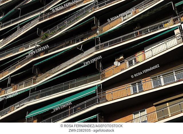 Facade of a modern building, Madrid, Spain
