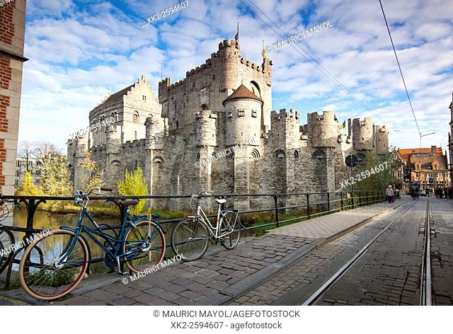 Gravensteen, the castle in the center of Ghent, Belgium