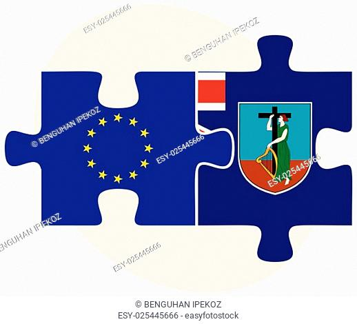 European Union and Montserrat Flags in puzzle isolated on white background
