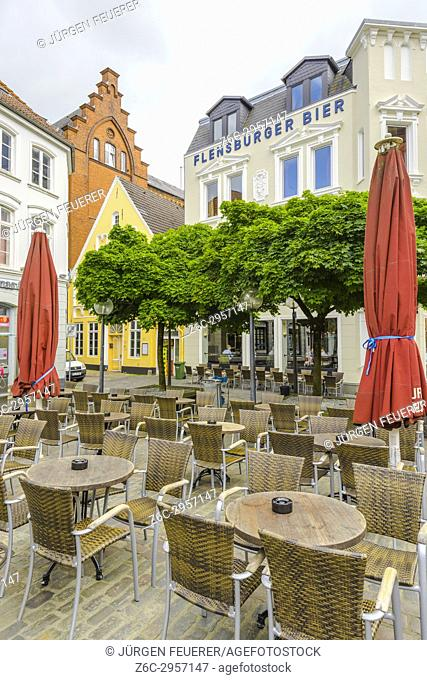 famous brewery on the Nordermarkt square in the coastal town Flensburg at the Baltic Sea, Germany