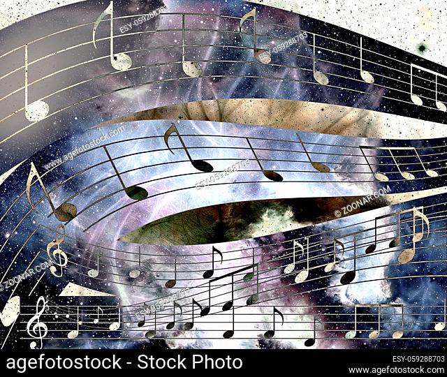 music note and Space with stars. abstract color background. Music concept