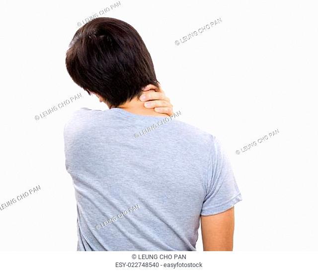 Pain neck of man
