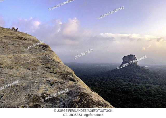 Views of the Sigiriya lion rock temple from the top of Pirudangala rock. Sri Lanka