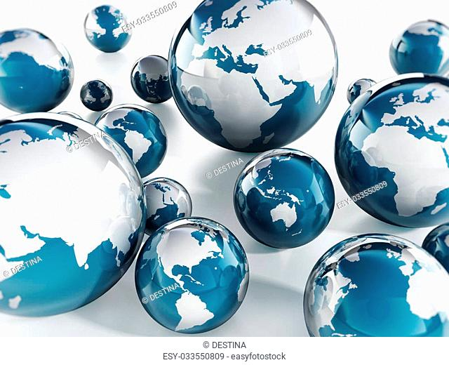 Blue and white globes on white background