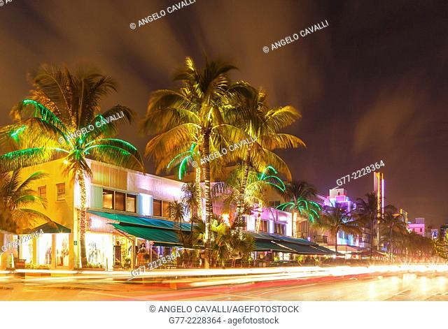 Ocean Drive, Art Deco district, South Beach, Miami Beach, Florida, USA