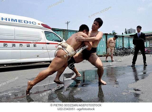 Naha, Okinawa, Japan: sumo wrestlers at the Haarii, in May