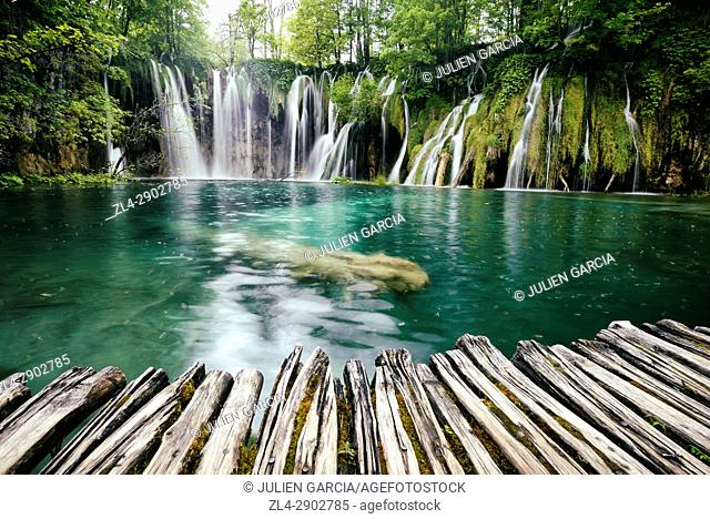 Croatia, Plitvice lakes National Park, listed as World Heritage by UNESCO, upper lakes