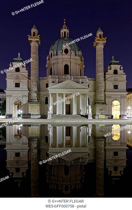 Austria, Vienna, view to St Charles Borromeo by night