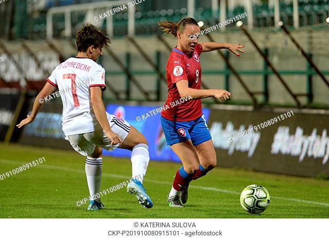 L-R MARTA CORREDERA of Spain and Czech Jana Sedlackova in action during the European qualification match Czech Republic vs