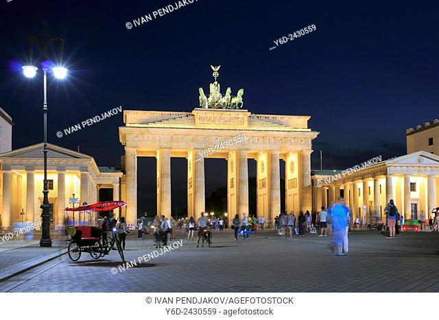 The Brandenburg Gate at Night, Berlin, Germany