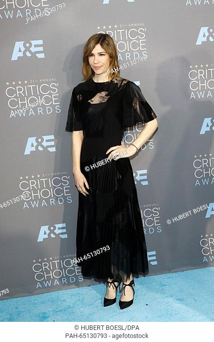 Actress Carrie Brownstein arrives at the 21st Annual Critics' Choice Awards at Barker Hangar at Santa Monica Airport in Los Angeles, USA, on 17 January 2016