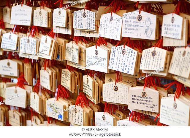 Ema, Japanese wooden wishing plaques with prayers and wishes written on them, hanging at a Shinto shrine in Kyoto, Japan