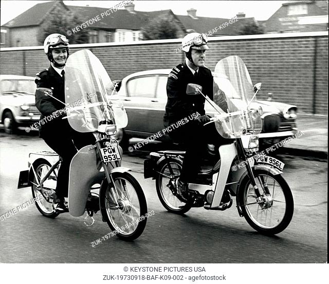 Sep. 18, 1973 - Mopeds for traffic wardens.: Traffic Wardens in North London are to ride mopeds to give them greater mobility in their enforcement and enquiry...